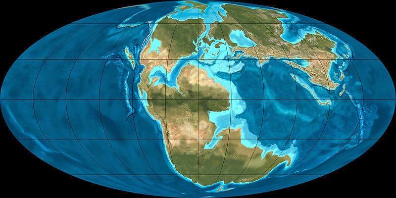 Очертания континентов в юрском периоде