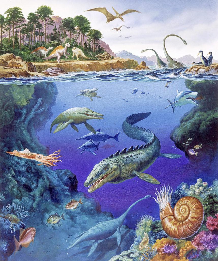 Морские и сухопутные обитатели мелового периода