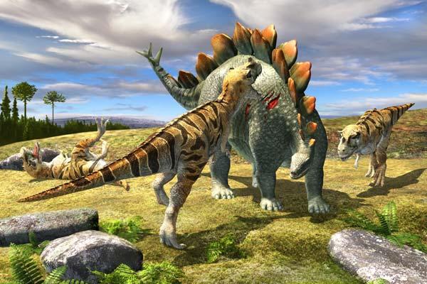 Нападение аллозавров на стегозавра