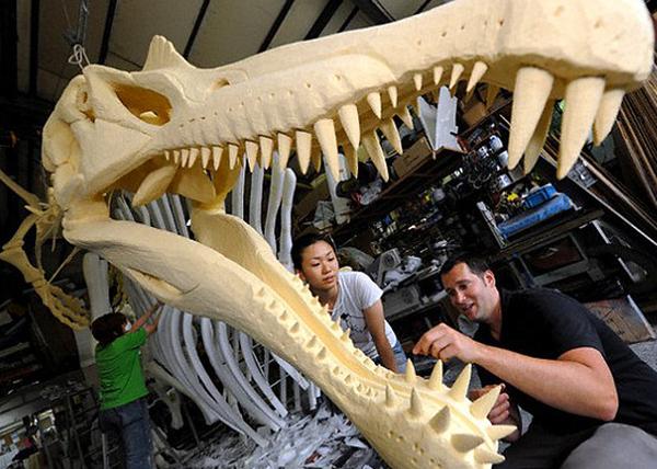Модель черепа спинозавра с зубами