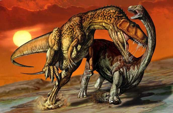 Нападение кархаодонтозавра на египтозавра