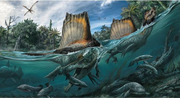 Охота спинозавра на рыбу