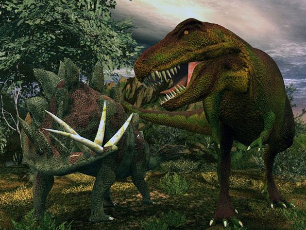 Защита стегозавра от тираннозавра