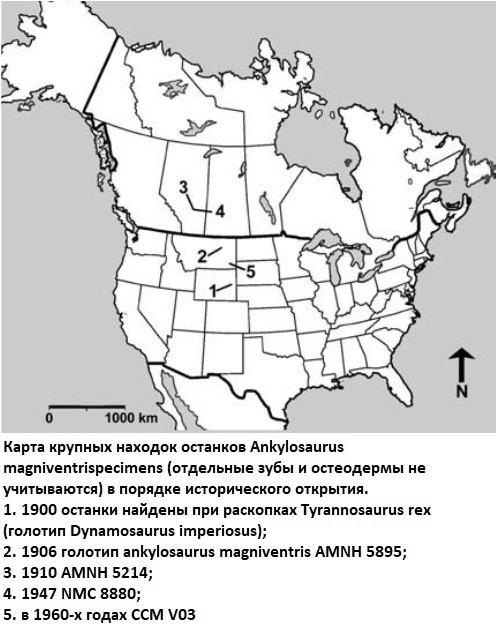 Карта находок анкилозавра
