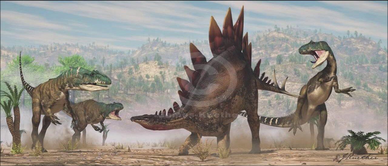 Стадо аллозавров нападает на стегозавра