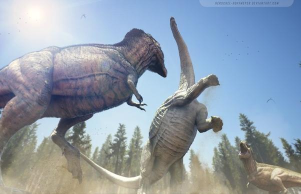 Нападение на диплодока двух тираннозавров
