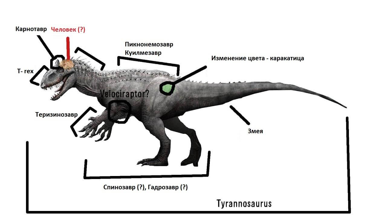 Геном индоминус рекса был составлен более чем из 8 геннов разных динозавров и рептилий