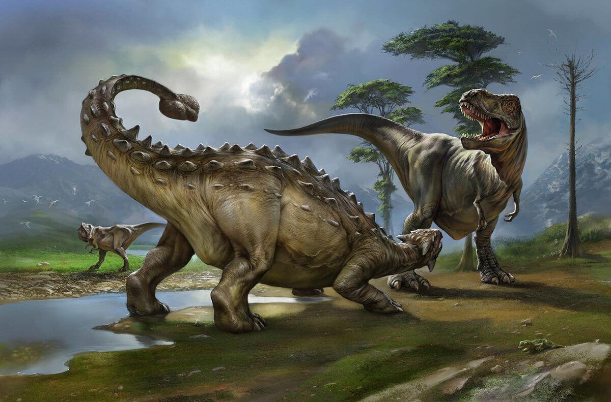 Схватка тираннозавра и анкилозавра