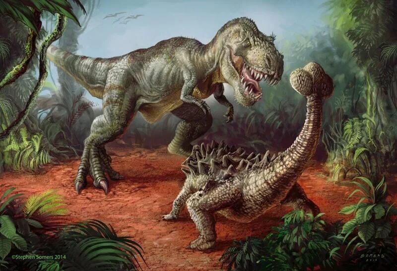 Дечший шанс тираннозавра был при опрокидывании противника