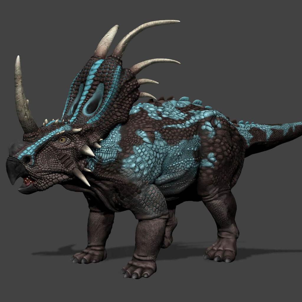 Костюм стиракозавра, одетый на трицератопса